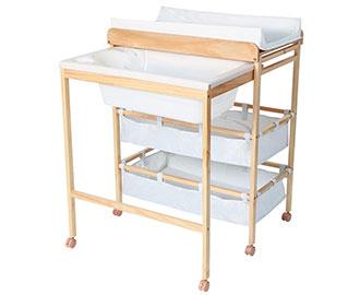 2-in-1 Wickeltisch und Badewanne, weiß, 2 Stoffablagefächer von Infantastic