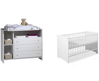 "Schardt Sparset ""Eco Stripe"" – Kombi-Kinderbett und Wickelkommode"