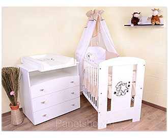 sparset babybett wickelkommode und ausstattung. Black Bedroom Furniture Sets. Home Design Ideas